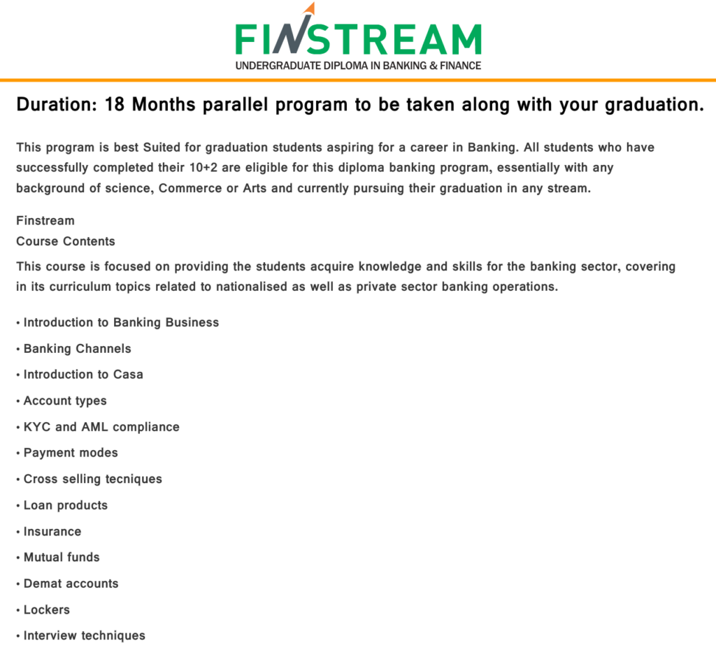 Finstream Course Info