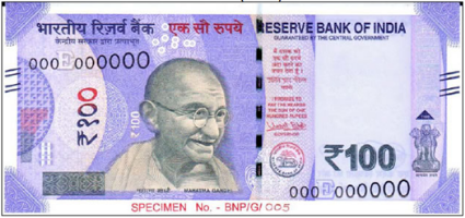 Front side of new 100 notes