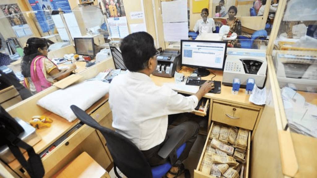 People working in bank