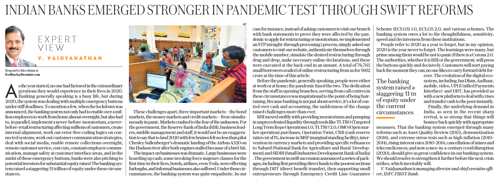 Article on Indian Banks Emerged Stronger in PAndemic Test Through Swift Reforms