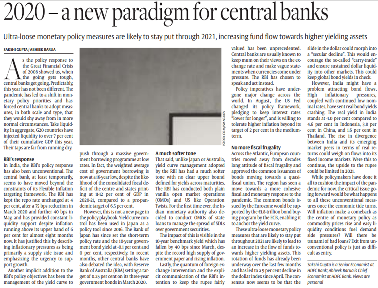 Article on 2020 new paradigm for central banks