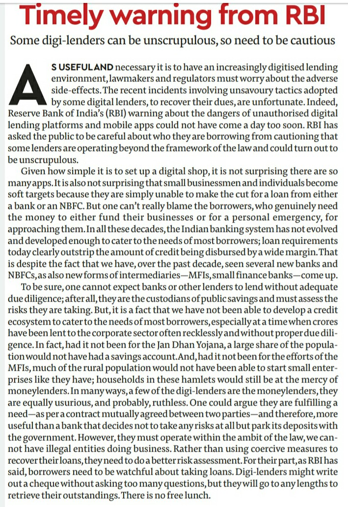 Article on Timely warning from RBI