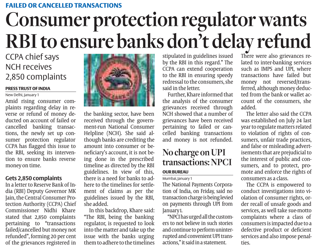Article on Consumer protection regulator wants RBI to ensure banks don't delay refunds