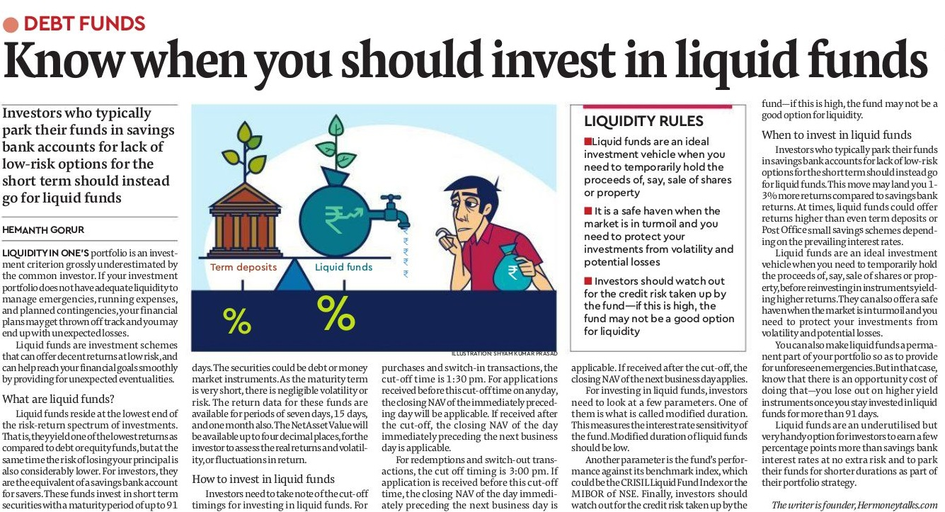 Article on know when you should invest in liquid funds from Financial Express