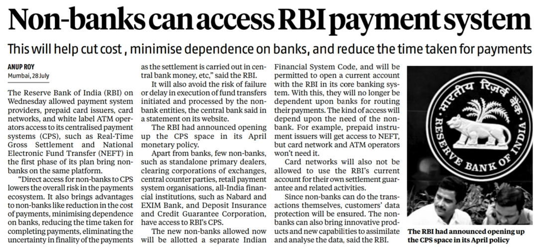Payment System access to non-bank entities 1